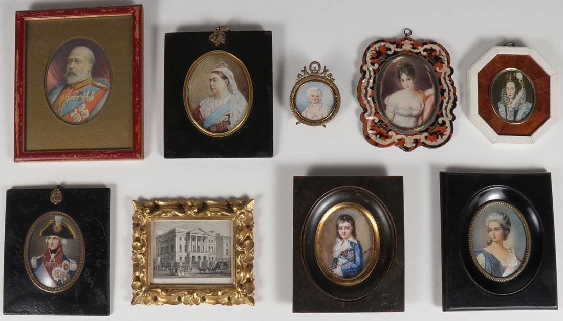 A GROUP OF EIGHT MINIATURE PORTRAITS 19TH/20TH C.