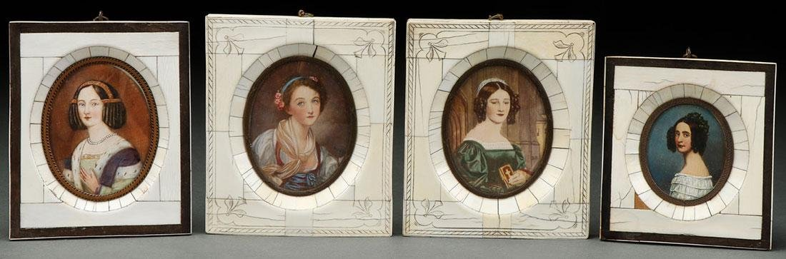 A GROUP OF FOUR HAND PAINTED PORTRAIT MINIATURES