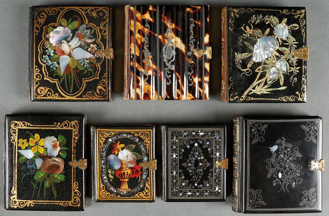 A GROUP OF SIX LACQUER AND M.O.P. PHOTO, 19TH C.
