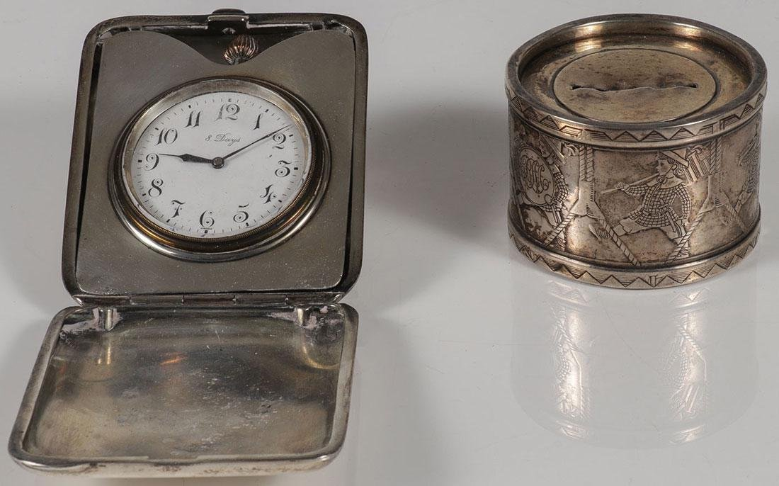 THREE SILVER OBJECTS CIRCA 19TH CENTURY