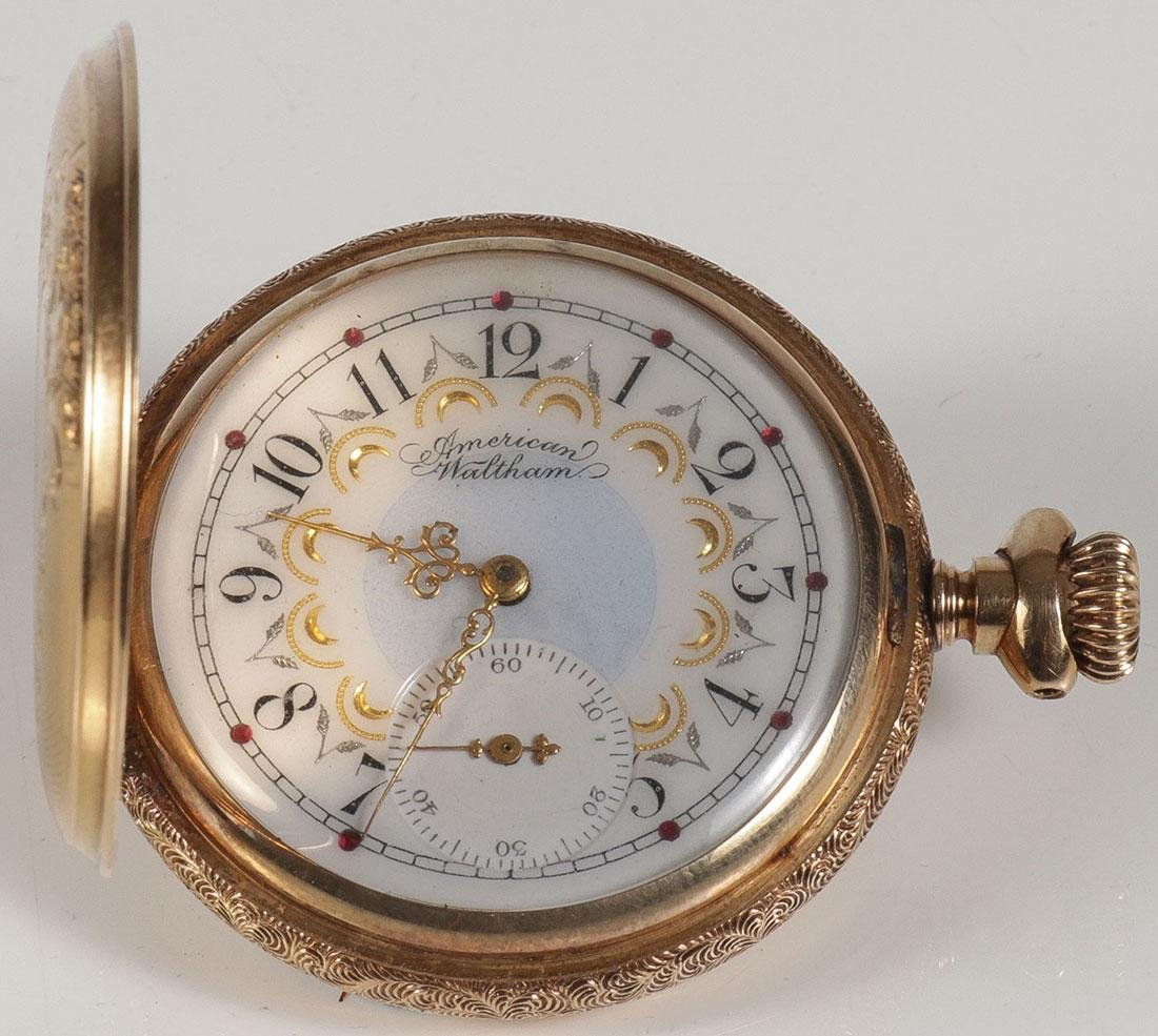 AN AMERICAN WALTHAM 14K GOLD CASED WATCH - 2
