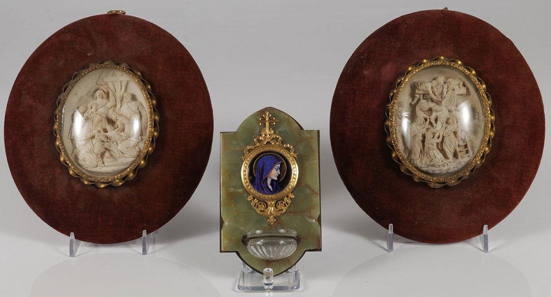 A FRENCH LIMOGES & GILT BRONZE HOLY WATER FONT