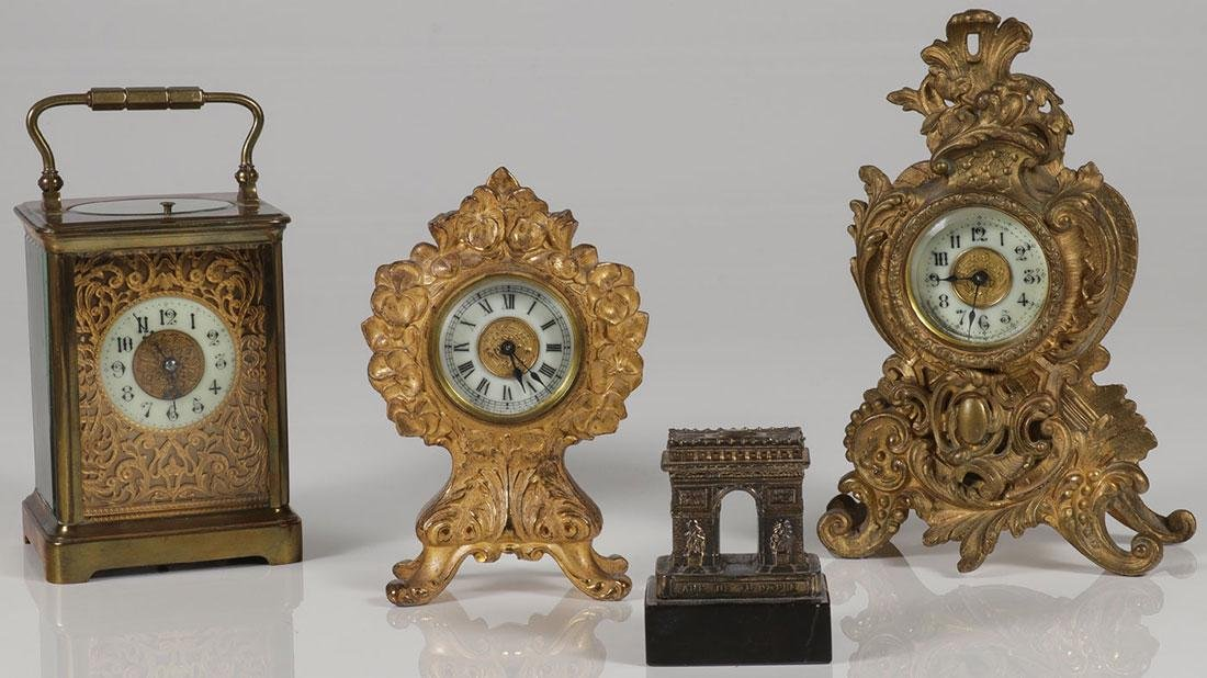 THREE GILT CLOCKS 19TH CENTURY