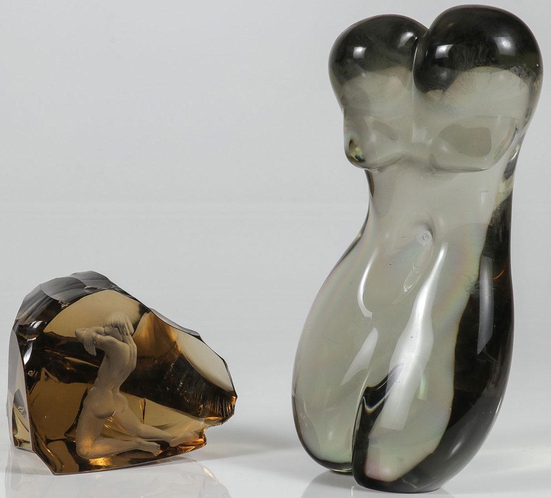 A PAIR OF MODERN GLASS SCULPTURES