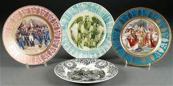 FOUR CONTINENTAL CERAMIC PLATES LATE 19TH C