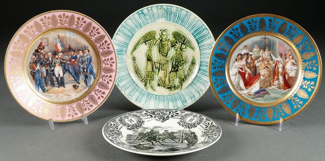 FOUR CONTINENTAL CERAMIC PLATES, LATE 19TH C.