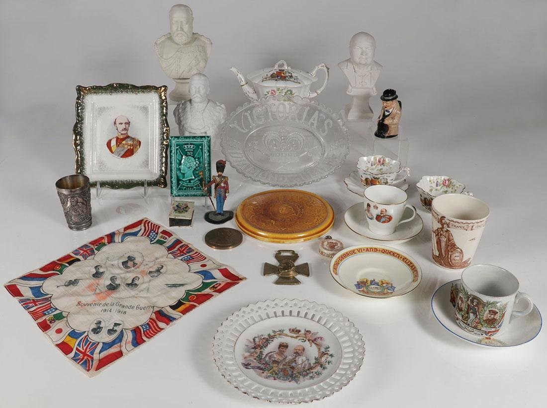 A GROUP OF MOSTLY BRITISH MONARCHY WARE