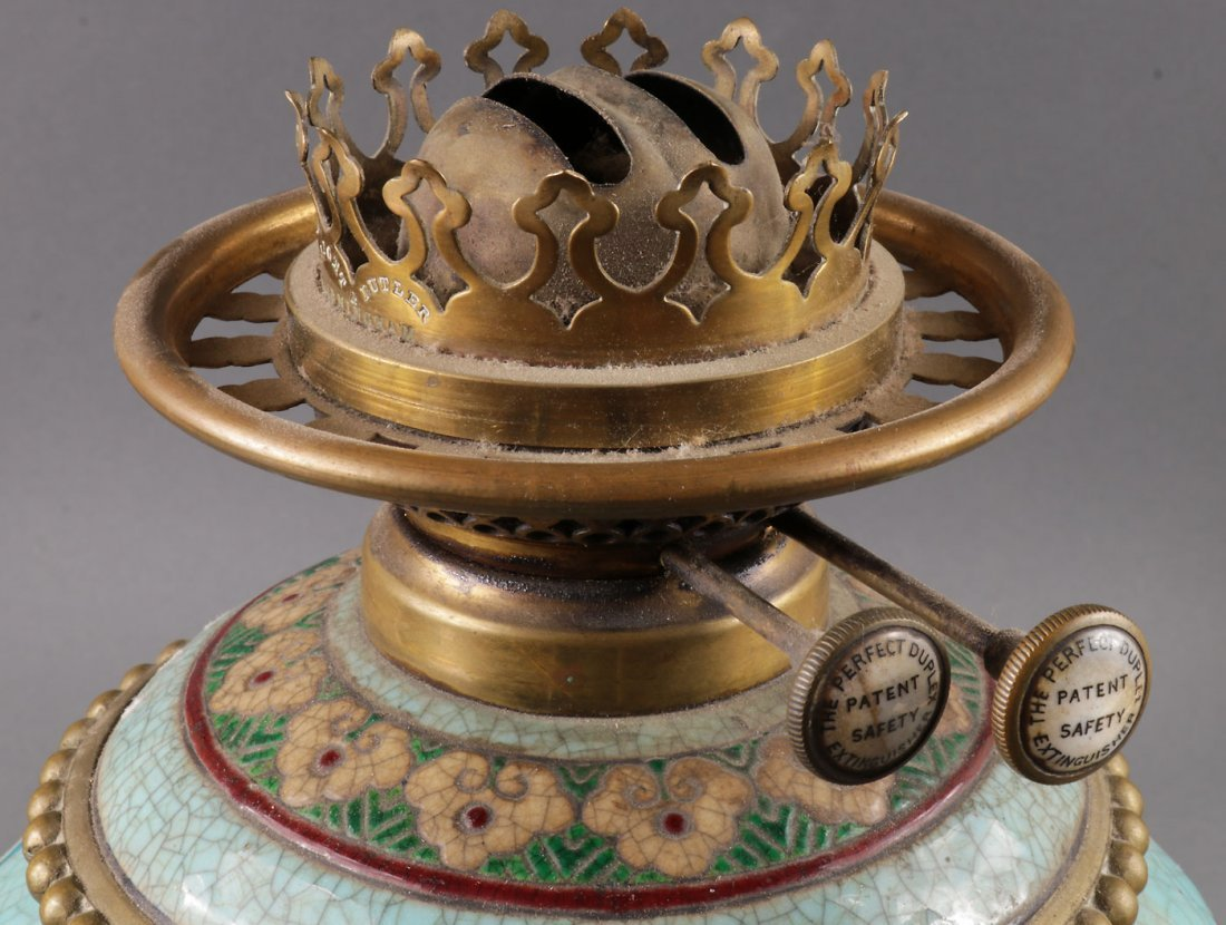 A FAIENCE OIL LAMP WITH DRAGON GLOBE 19TH C. - 2