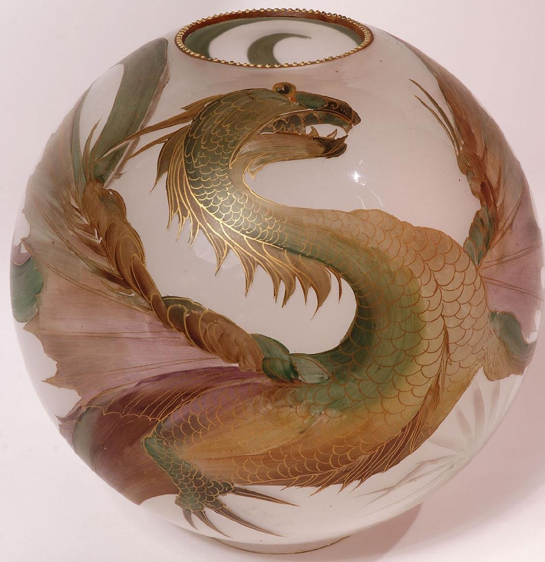 A FAIENCE OIL LAMP WITH DRAGON GLOBE 19TH C. - 4