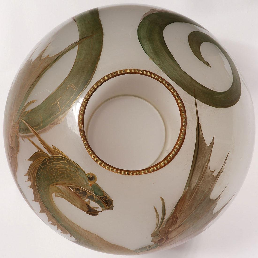A FAIENCE OIL LAMP WITH DRAGON GLOBE 19TH C. - 5