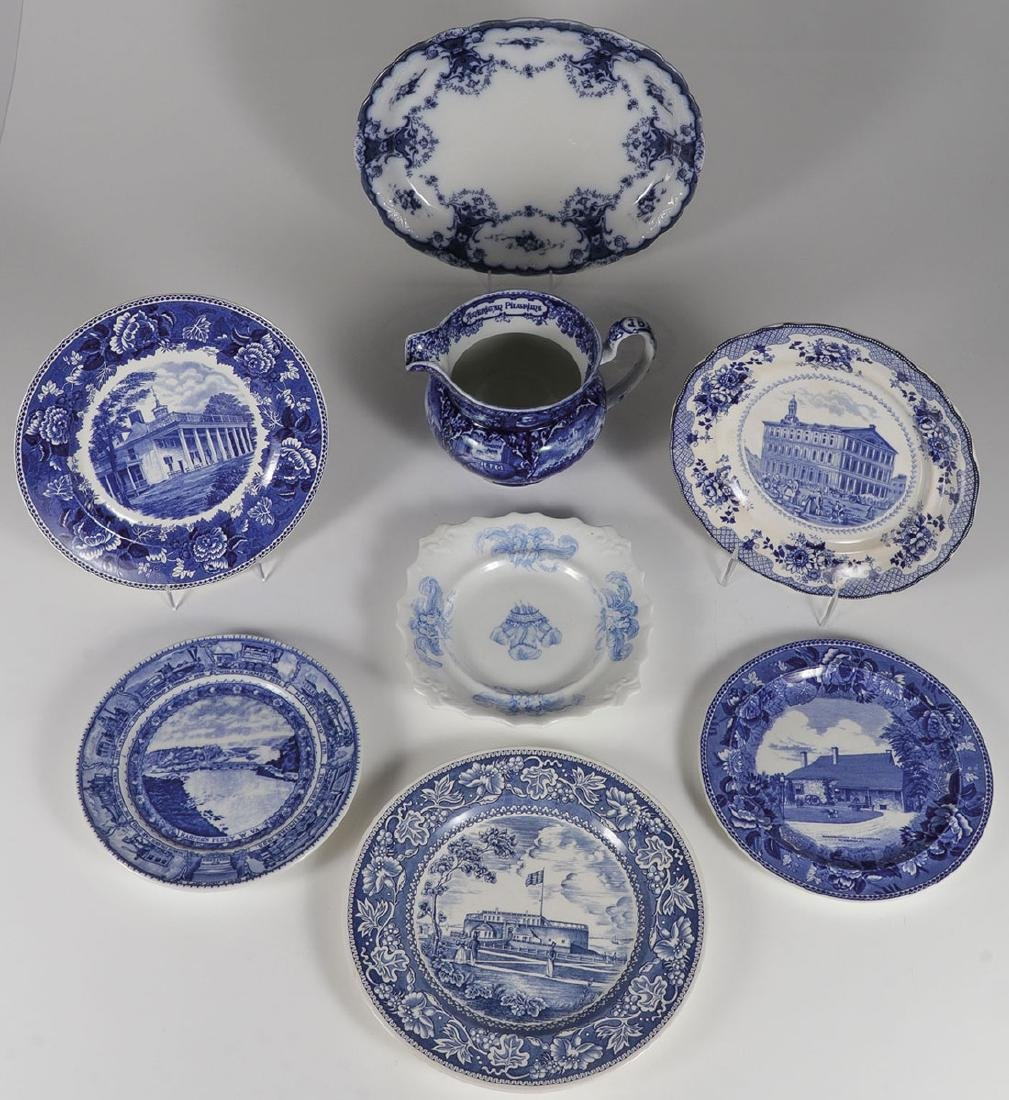 GROUP OF FORTY BLUE AND WHITE AND MAJOLICA