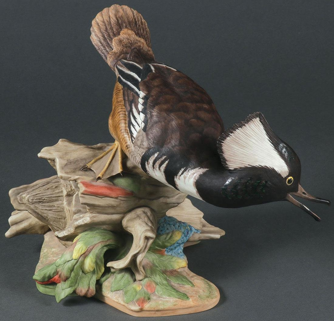 A LARGE AND IMPRESSIVE BOEHM PORCELAIN MERGANSERS