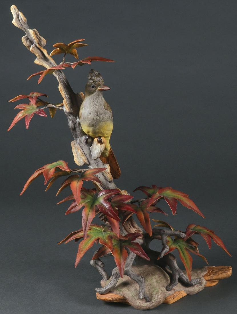 A LARGE AND IMPRESSIVE BOEHM PORCELAIN FLYCATCHER