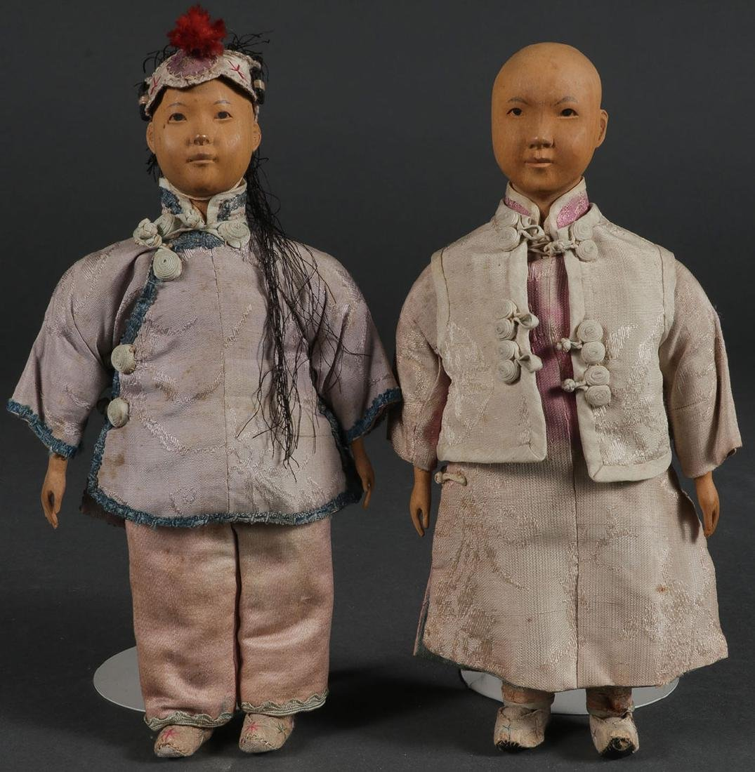 A PAIR OF DOOR OF HOPE MISSION CHINESE DOLLS