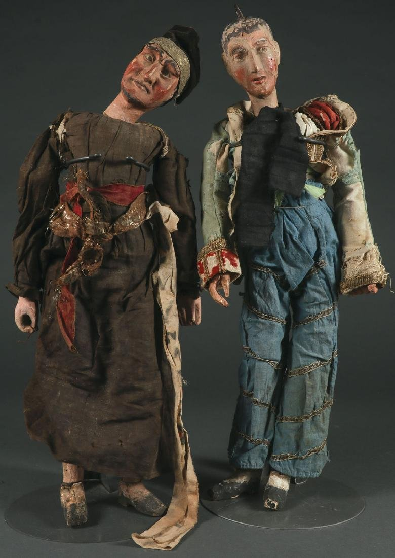 A PAIR OF CARVED POLYCHROME MARIONETTES, EUROPEAN