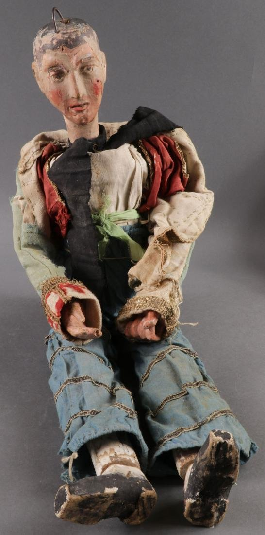 A PAIR OF CARVED POLYCHROME MARIONETTES, EUROPEAN - 2