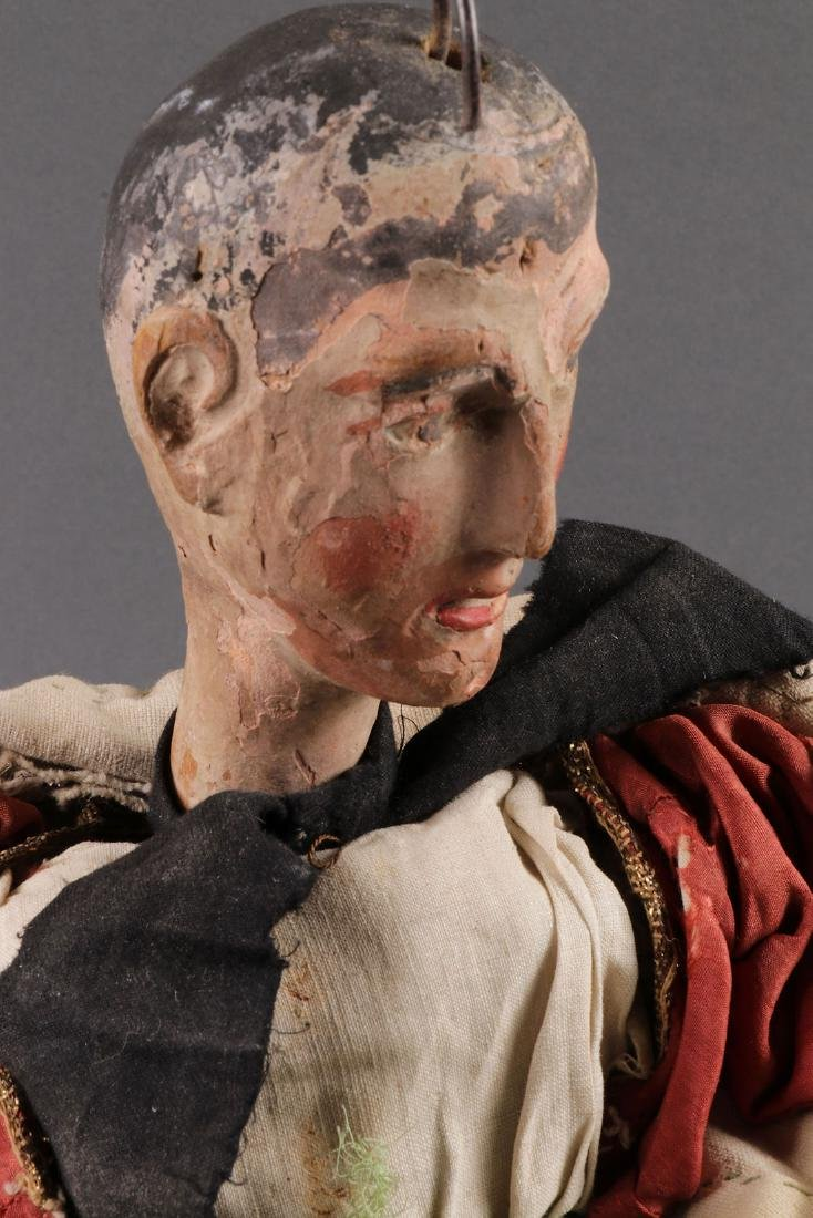 A PAIR OF CARVED POLYCHROME MARIONETTES, EUROPEAN - 5