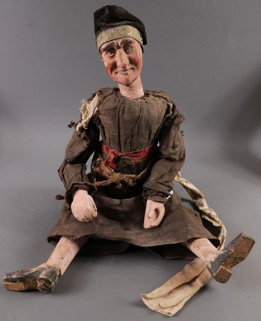 A PAIR OF CARVED POLYCHROME MARIONETTES, EUROPEAN - 6