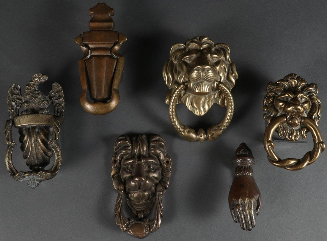 A GROUP OF SIX BRASS DOOR KNOCKERS 19TH & 20TH C.