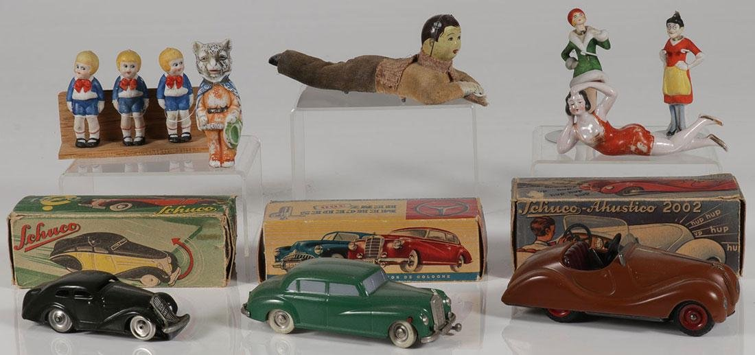 THREE GERMAN TOY CARS WITH ORIGINAL BOXES