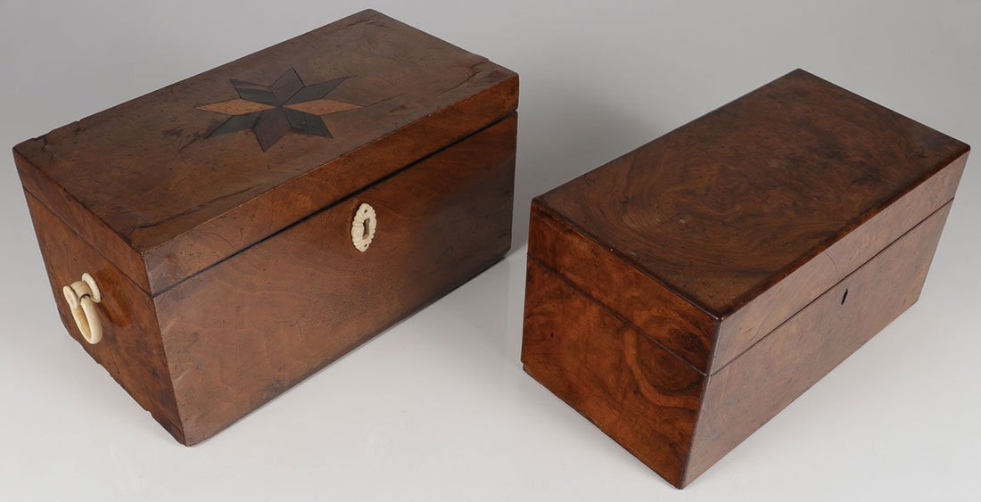 AN EARLY AMERICAN DOCUMENT BOX AND TEA CADDY