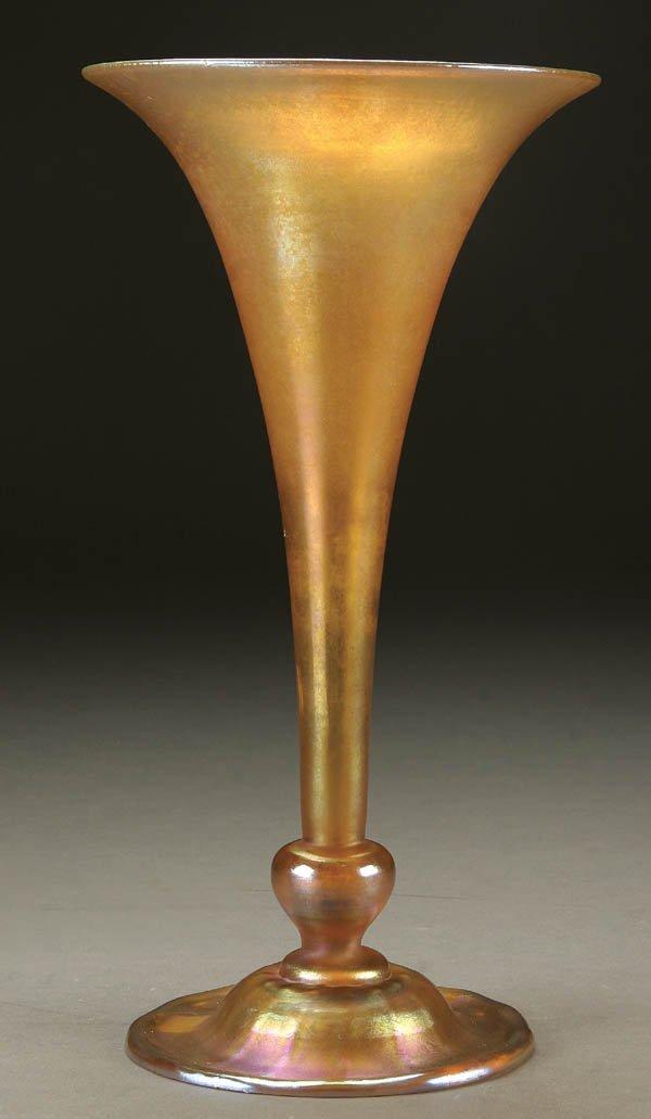 1: TIFFANY GOLD FAVRILE GLASS VASE; circa 1916; foot