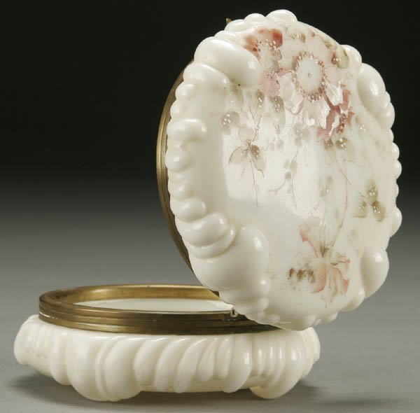 8: A WAVECREST DRESSER BOX; circa 1890; opal baroque