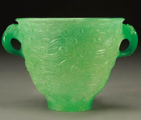 18: AFTER DECORCHEMONT PATE-DE-VERRE GLASS VASE; prob