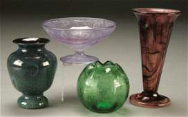 60 FOUR ART GLASS ITEMS including an Orient and Flu