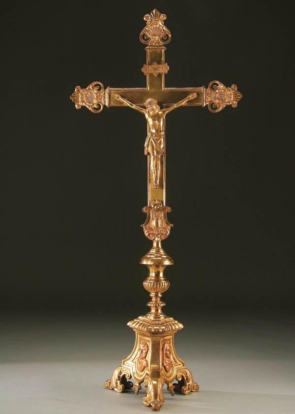 674: ALTAR CRUCIFIX; a large and impressive gilt bronz