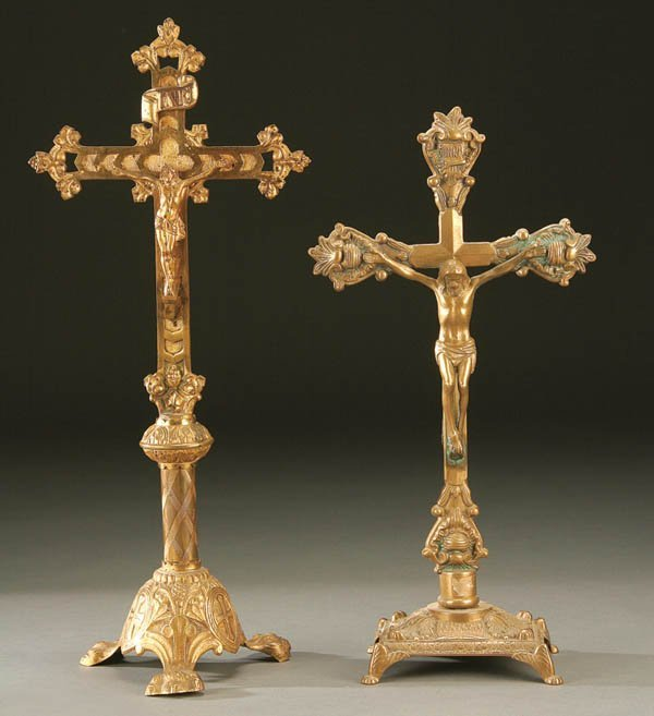 677: A PAIR OF ALTAR CRUCIFIXES 19th century. The firs