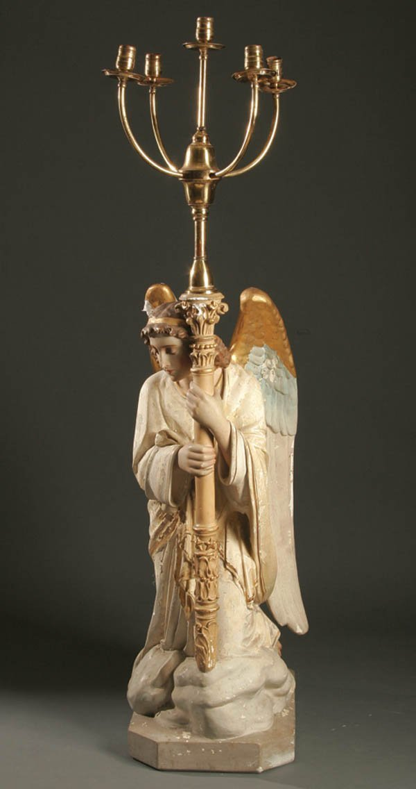 678: A KNEELING ANGEL ALTAR CANDELABRA.  A polychrome
