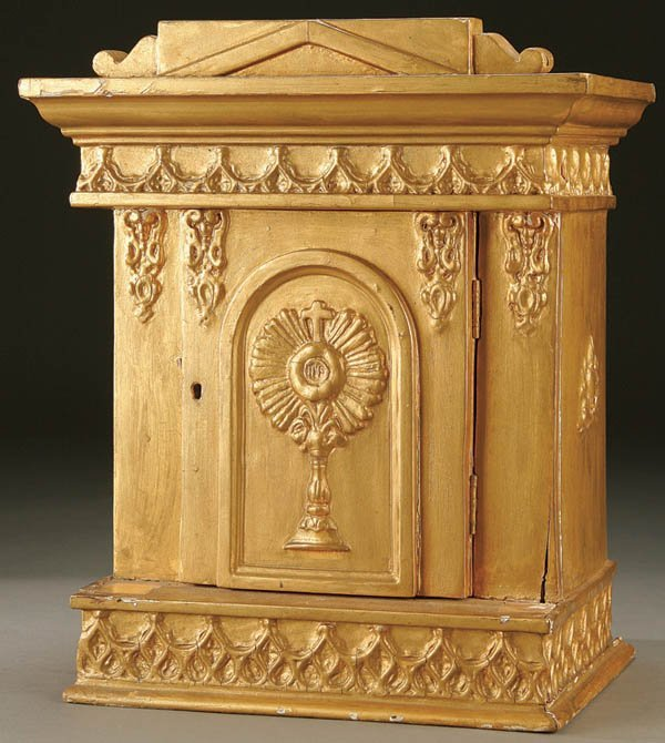 680: TABERNACLE; an architectural temple form gilt woo
