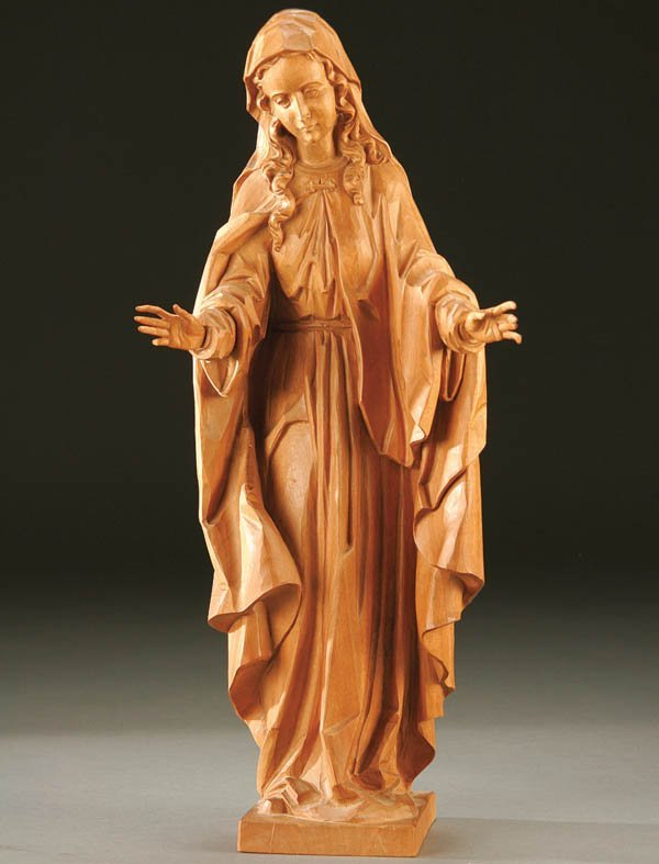 684: THE MADONNA; a carved wood figure of the Virgin M