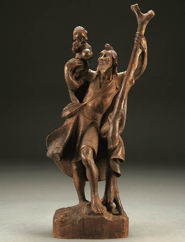 685: ST. CHRISTOPHER; a carved wood figure of St. Chri