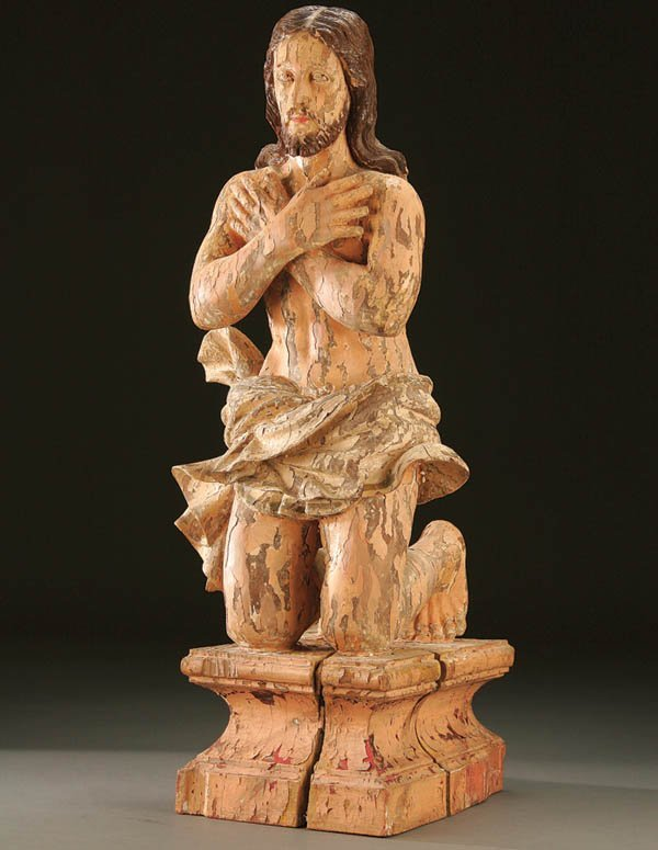687: BAPTISM OF CHRIST; a carved and polychromed wood