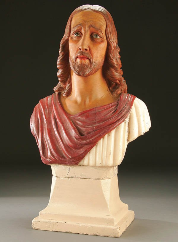 689: A BEAUTIFULLY SCULPTED POLYCHROME WAX BUST of Chr