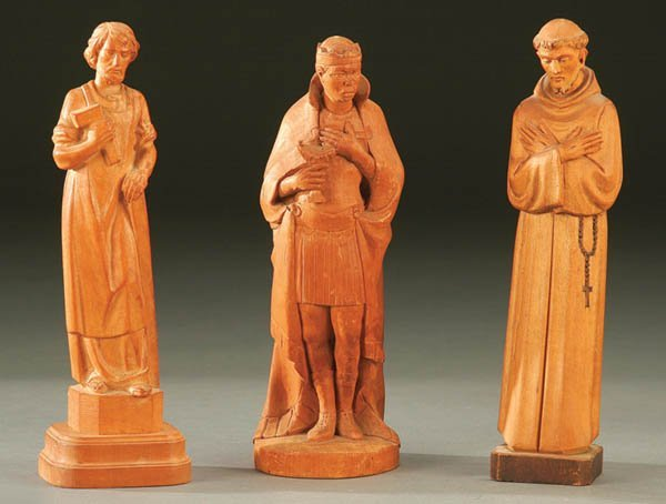 691: THREE CARVED WOOD RELIGIOUS STATUES; Italian; cir