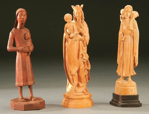 692: THREE CARVED WOOD RELIGIOUS STATUES; including an
