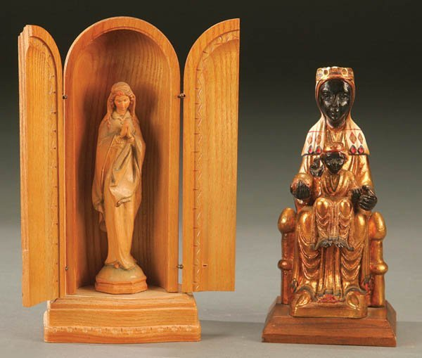 693: AN ANRI CARVED AND STAINED FIGURE of the Praying