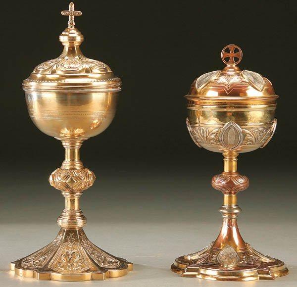 701: CIBORIUM; a pair of partial gilt sterling and bro