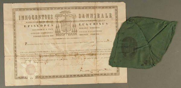 907: RELIC OF SAINT UBALD BALDASSINI, a Zucchetto (sku