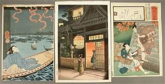 982: JAPANESE WOODBLOCK PRINTS a group of 9, circa 185