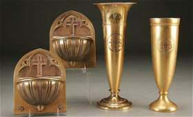1115 ALTAR VASES AND HOLY WATER FONTS a pair of match