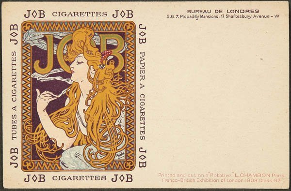 9: ALPHONSE MUCHA POSTCARD Job Cigarette advertising