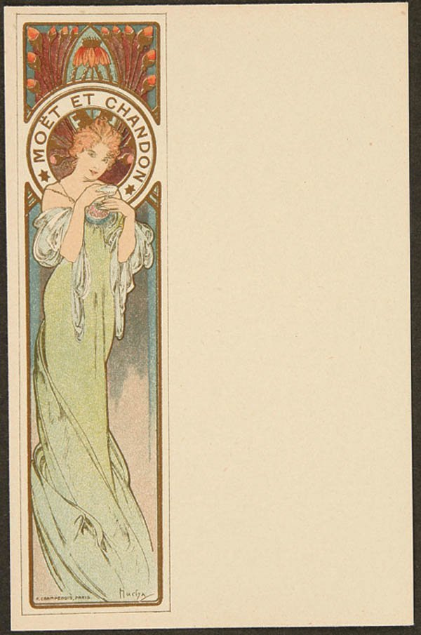 13: 10 ALPHONSE MUCHA MOET AND CHANDON MENU CARDS com