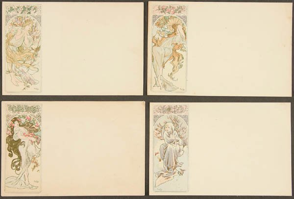 17: 4 ALPHONSE MUCHA POSTCARDS set of Four Seasons fr