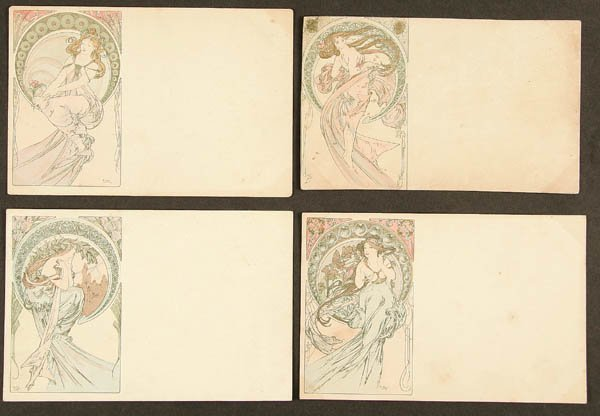 "18: 4 ALPHONSE MUCHA ""THE FOUR ARTS"" POSTCARDS 2nd se"