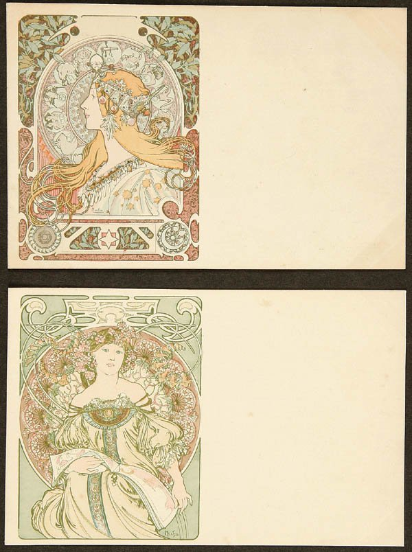 "19: 2 ALPHONSE MUCHA ""REVIERE AND ZODIAC"" POSTCARDS f"