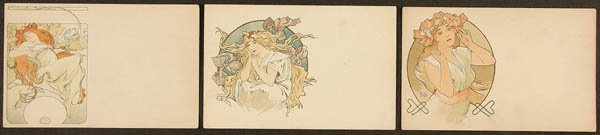 20: 3 ALPHONSE MUCHA POSTCARDS from 3rd series of Cha